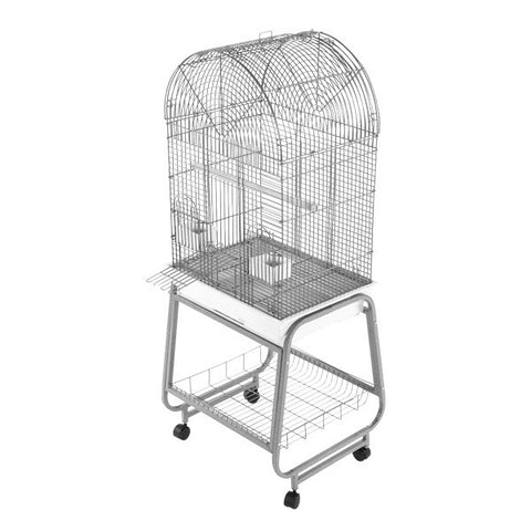 Small Opening Dome Top Bird Cage, Plastic Base, Metal Stand That Separates