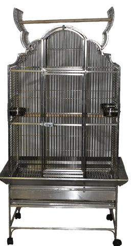 "Stainless Steel - Medium Opening Victorian Top Bird Cage - 32"" X 23"""