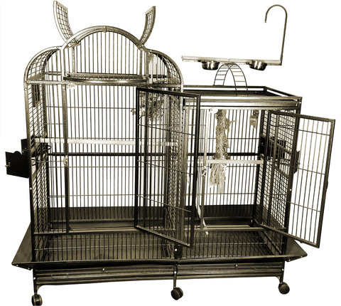 "Stainless Steel - Extra Large Play Top Bird Cage - 42"" X 26"""