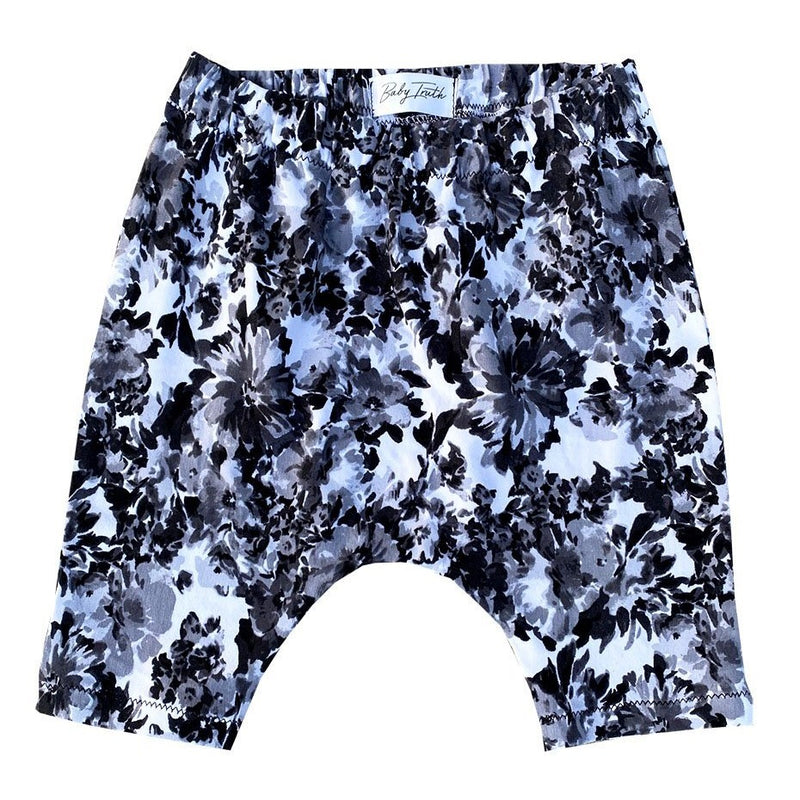 Black and White Floral Harem Shorts - Baby Truth