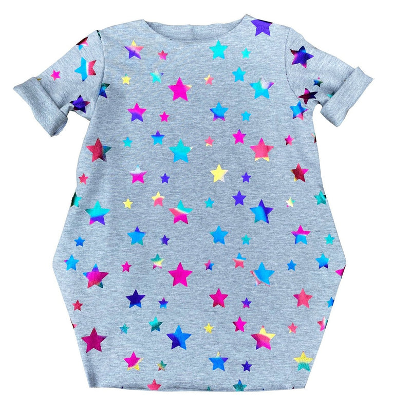 Light Grey Toddler Multi Color Stars Dress - Baby Truth