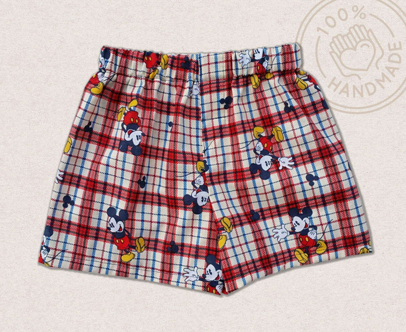 Plaid Mickey Shorts For Kids