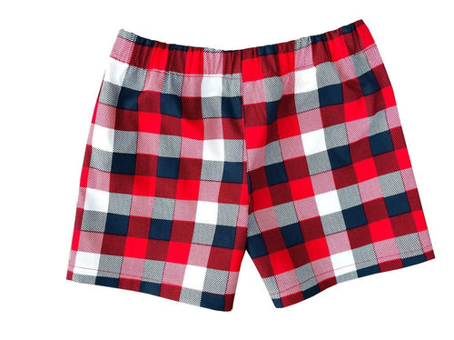 Red, Navy, & White Buffalo Plaid Kids Shorts - Baby Truth