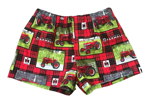 Red Tractor Farmer Boy Toddler Shorts