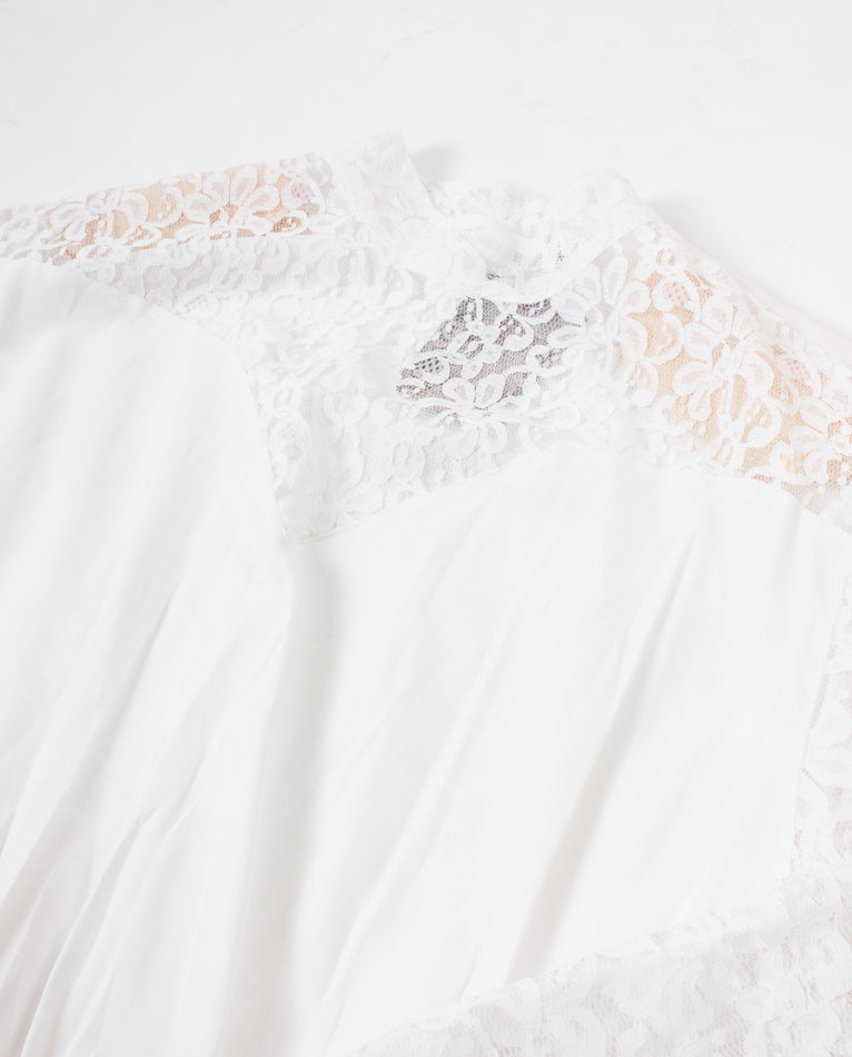 White Blouse Body with Lace & Shoulder Pads