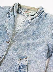 Long Acid Wash 80s Denim Jacket