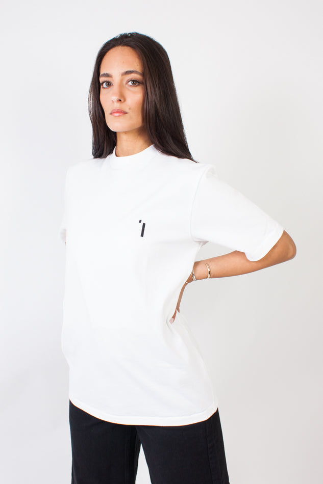 Oversize Hi Neck T White/Black