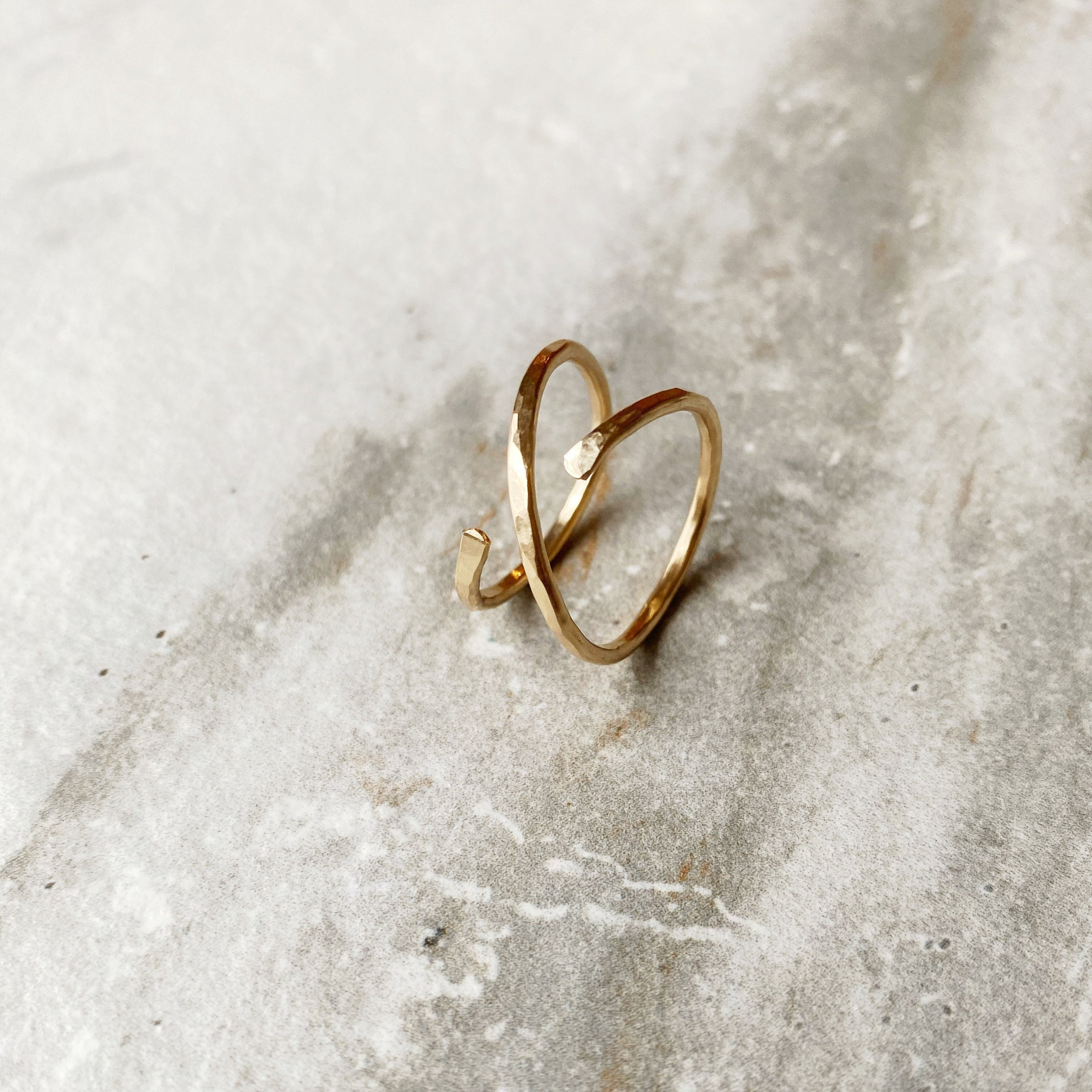X Gold Hammered Ring