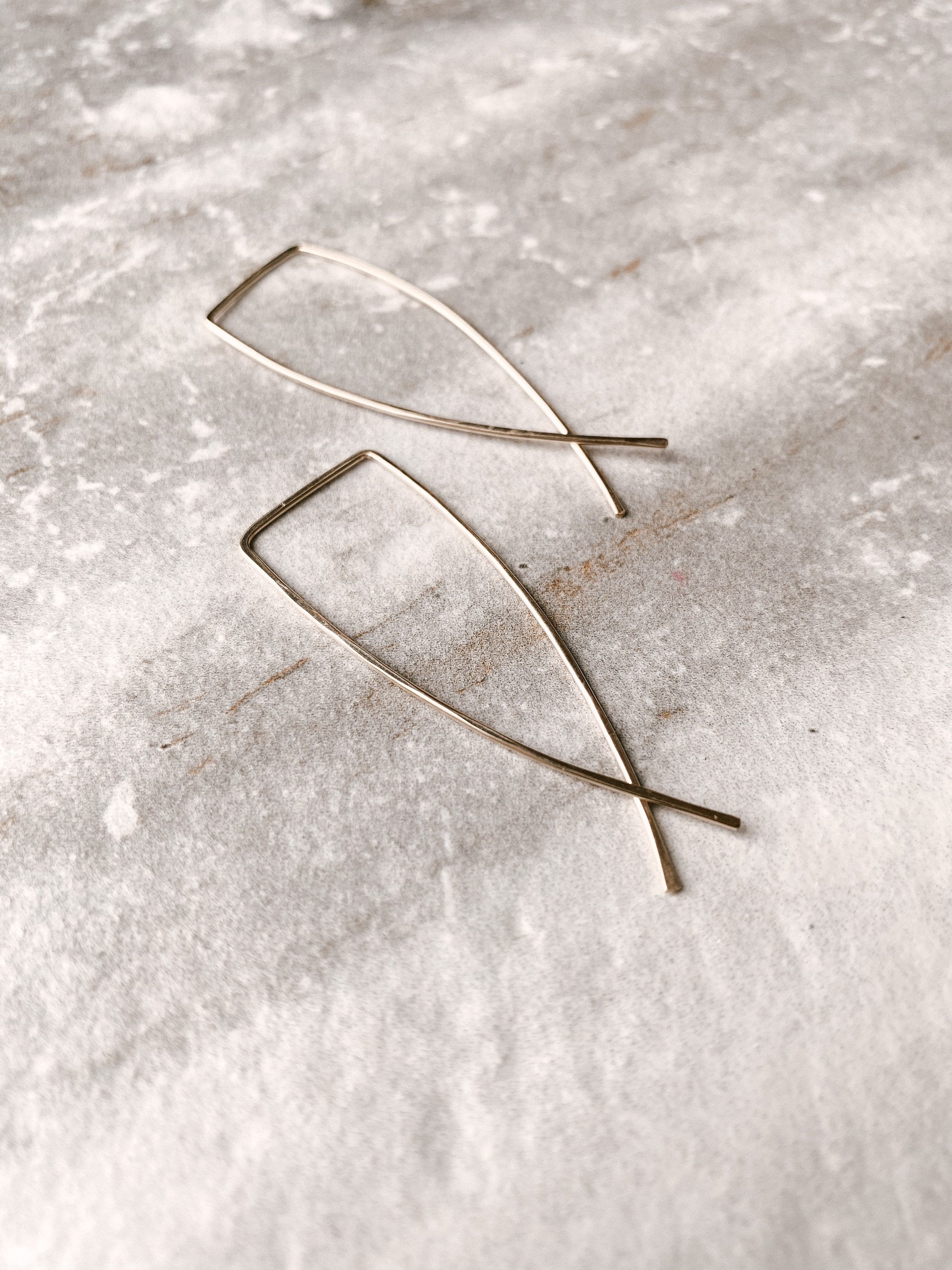 Lira Hammered Threader Earrings