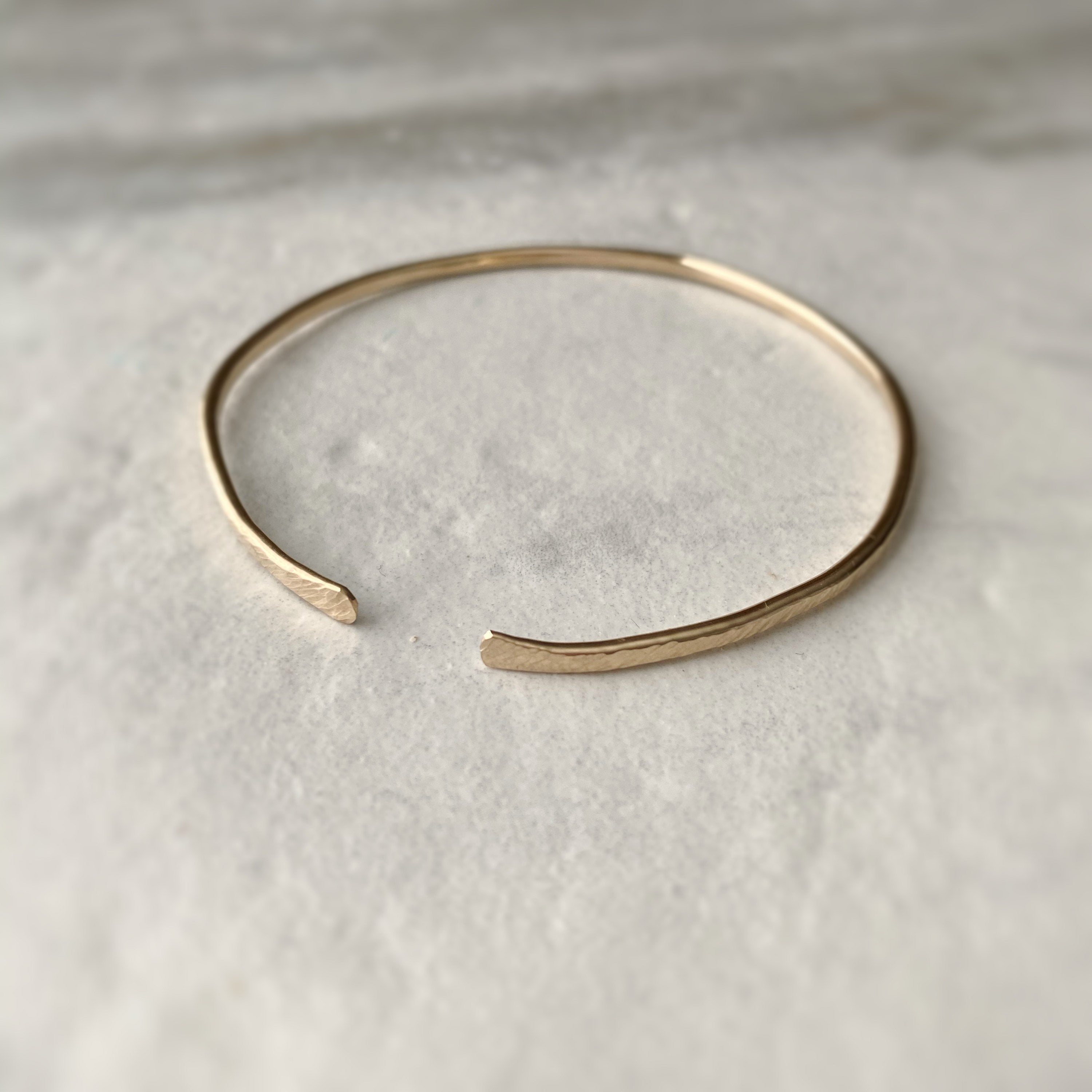 Simple Hammered Gold Bangle