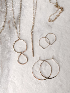 Wren Simple Hammered Gold Hoops