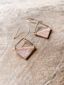 Bekah Square Dangles in Dusty Pink Marble