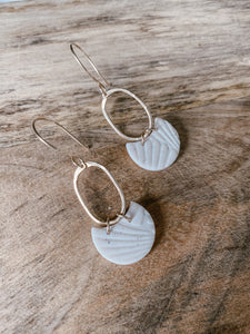 Amelie Oval Gold Dangles in Alabaster