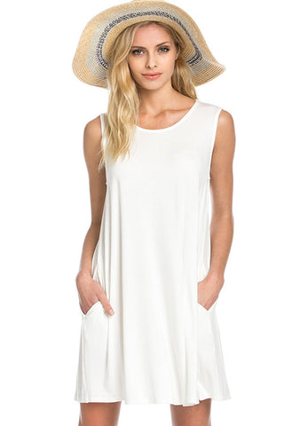 Zoe Bamboo Pocket Dress (Ivory)