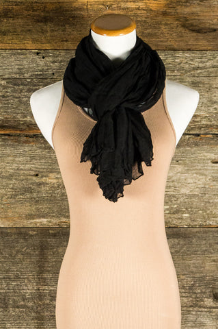 Black Crinkled Scarf
