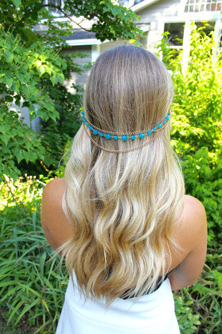 Turquoise Pearl Head Chain - Headbands of Hope
