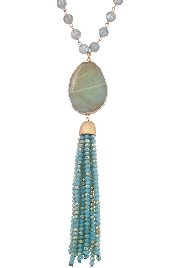 Calypso Stone Tassel Necklace
