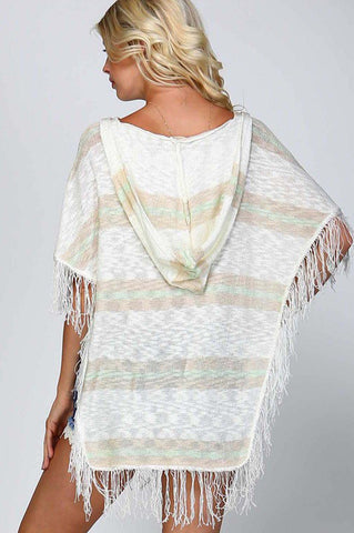 Alyssa Hooded Fringe Poncho