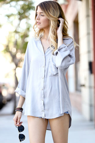 Mia Grey Button Up
