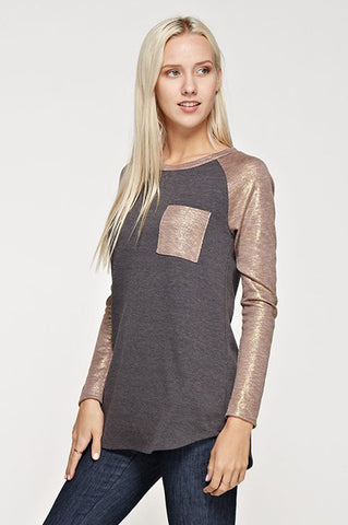 Shimmer Sleeve Top (various colors)
