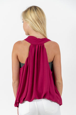 Garnet/Burgundy Wrap Sleeveless Top