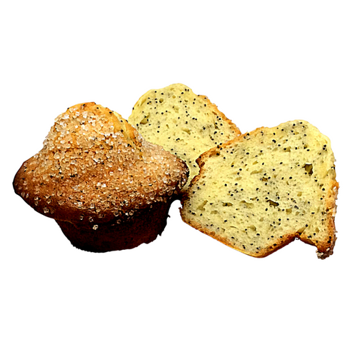 gluten free lemon poppyseed muffins. lemon extract, poppy seeds & topped with coarse sugar.
