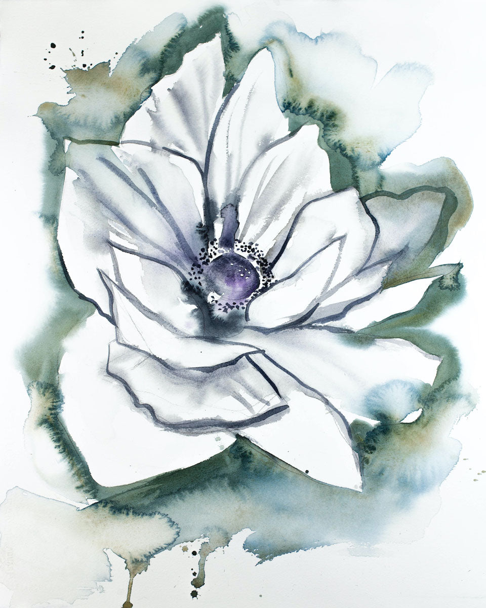 "16"" x 20"" original watercolor botanical anemone floral painting in an expressive, impressionist, minimalist, modern style by contemporary fine artist Elizabeth Becker. Soft blue green, gold, purple, gray and white colors."
