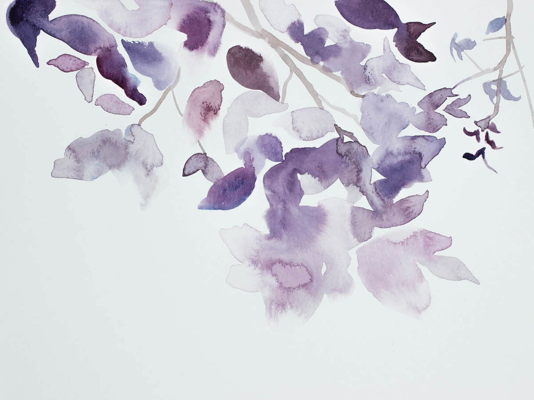 "9"" x 12"" original watercolor botanical nature painting of tree branches and leaves in an ethereal, expressive, impressionist, minimalist, modern style by contemporary fine artist Elizabeth Becker. Soft ethereal monochromatic lavender purple and white colors."