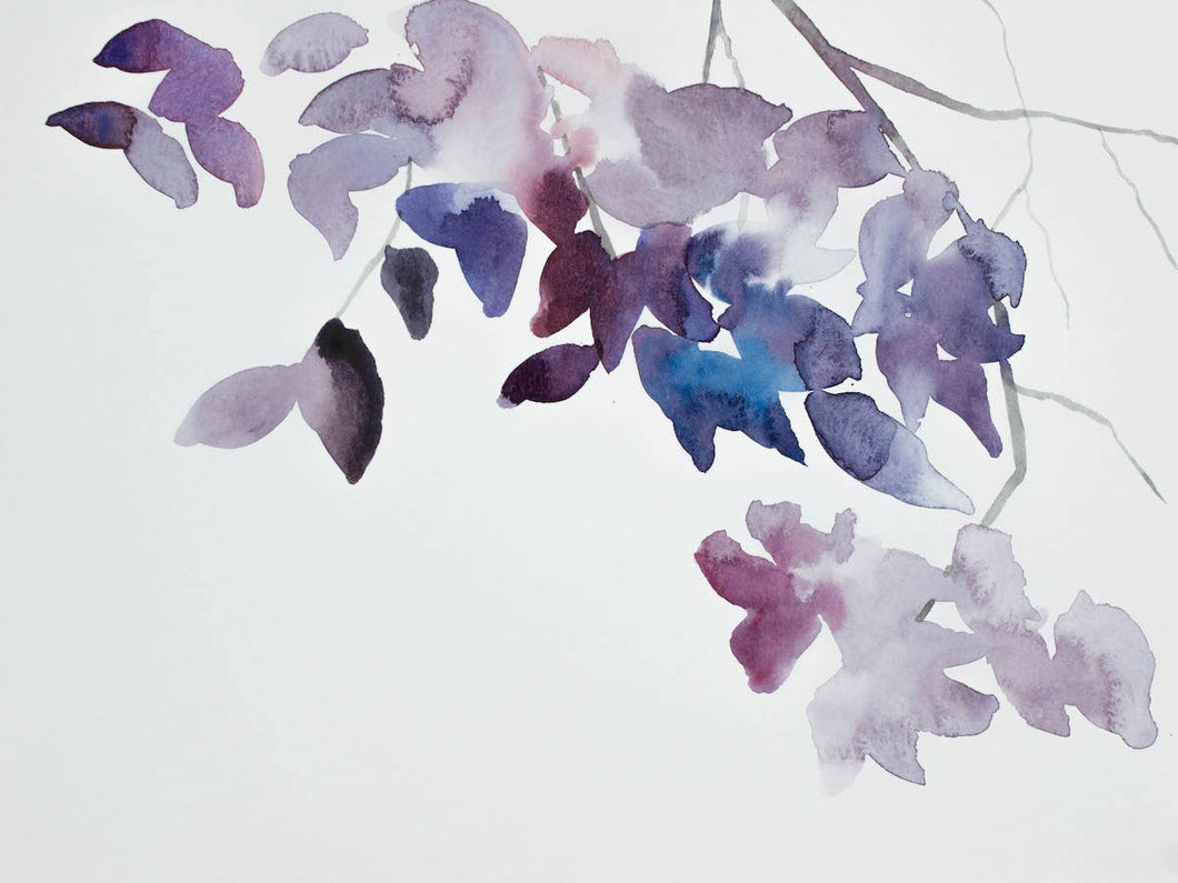 "9"" x 12"" original watercolor botanical nature painting of tree branches and leaves in an ethereal, expressive, impressionist, minimalist, modern style by contemporary fine artist Elizabeth Becker. Soft ethereal monochromatic blue, lavender purple and white colors."