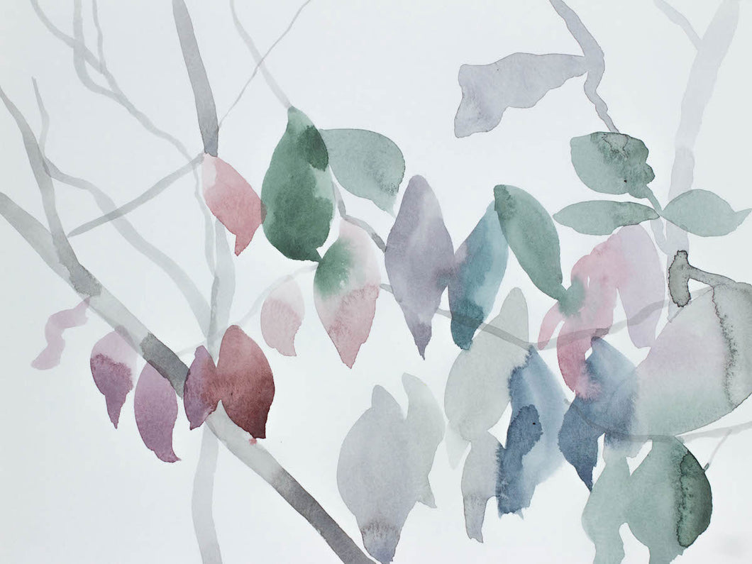 "9"" x 12"" original watercolor botanical nature painting of tree branches and leaves in an ethereal, expressive, impressionist, minimalist, modern style by contemporary fine artist Elizabeth Becker. Soft ethereal monochromatic blue green, gray, pale pink, mauve purple and white colors."