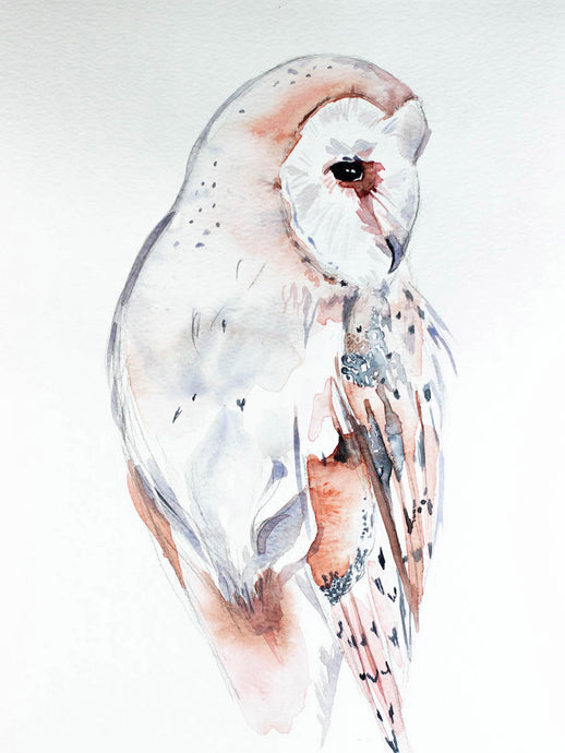 "9"" x 12"" original watercolor wildlife nature barn owl painting in an ethereal, expressive, impressionist, minimalist, modern style by contemporary fine artist Elizabeth Becker. Soft peach, gray and white colors."