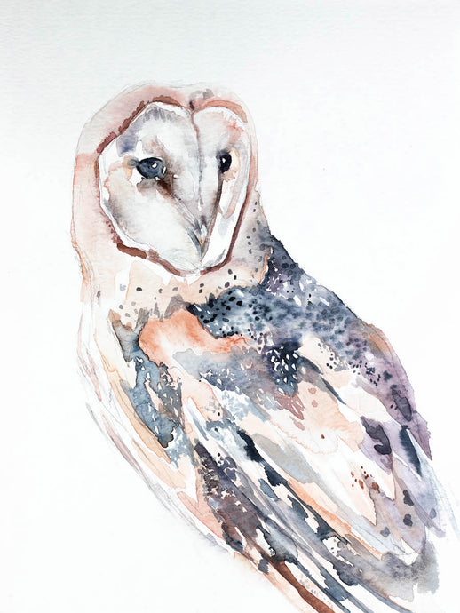 "9"" x 12"" original watercolor wildlife nature barn owl painting in an expressive, impressionist, minimalist, modern style by contemporary fine artist Elizabeth Becker"