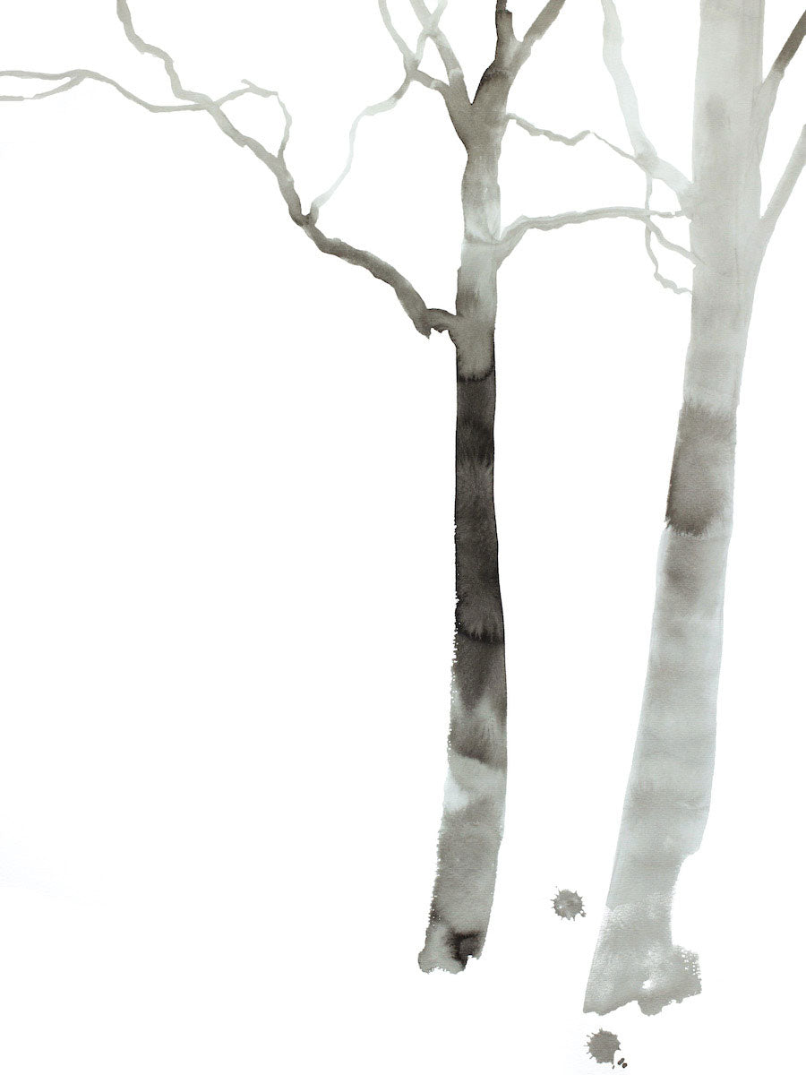 "18"" x 24"" black and white original ink painting of bare trees in an expressive, impressionist, minimalist, modern style by contemporary fine artist Elizabeth Becker"