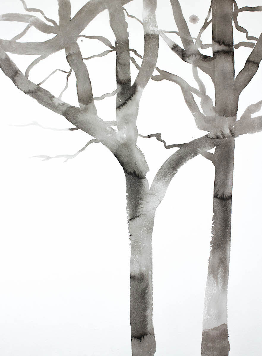 "18"" x 24"" black and white original ink painting of bare winter trees in an expressive, impressionist, minimalist, modern style by contemporary fine artist Elizabeth Becker"