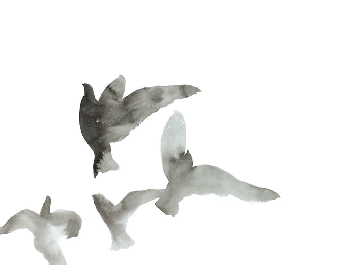 "18"" x 24"" original black and white ink flying birds painting in an ethereal, expressive, impressionist, minimalist, modern style by contemporary fine artist Elizabeth Becker"