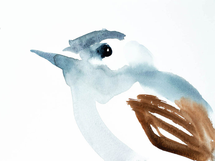 "9"" x 12"" original watercolor blue-gray gnatcatcher bird painting in an  ethereal, expressive, impressionist, minimalist, modern style by contemporary fine artist Elizabeth Becker"