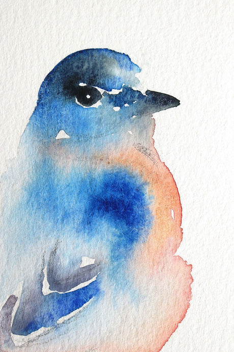 "3"" x 4.5"" original watercolor bluebird wildlife painting in an  ethereal, expressive, impressionist, minimalist, modern style by contemporary fine artist Elizabeth Becker"
