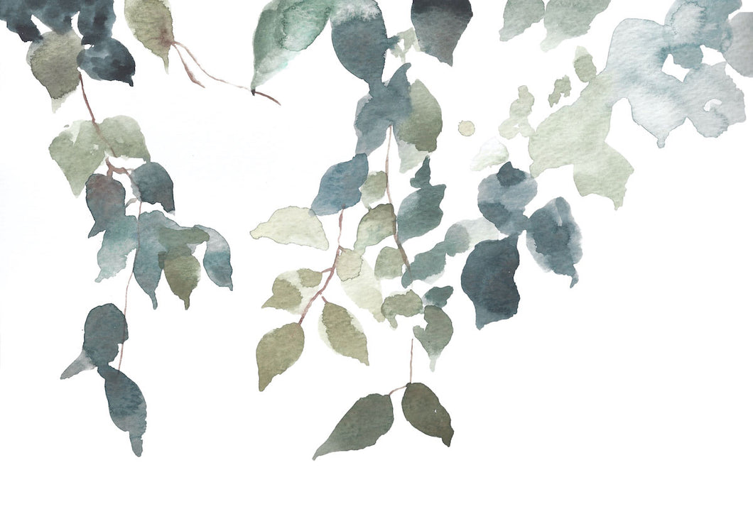 "9"" x 12"" original watercolor botanical nature painting of tree branches and leaves in an expressive, impressionist, minimalist, modern style by contemporary fine artist Elizabeth Becker. Soft monochromatic muted blue green, gold and white colors."