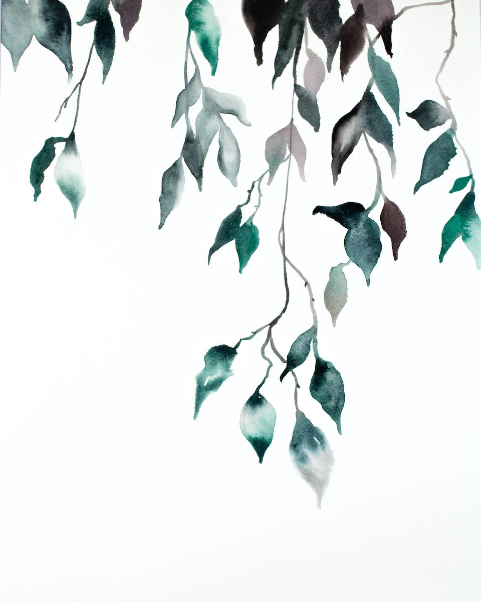 "16"" x 20"" original watercolor botanical nature painting of leaves and branches in an expressive, impressionist, minimalist, modern style by contemporary fine artist Elizabeth Becker. Soft monochromatic blue green and white colors."