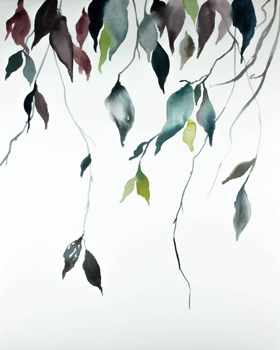 "16"" x 20"" original watercolor botanical nature painting of leaves and branches in an expressive, impressionist, minimalist, modern style by contemporary fine artist Elizabeth Becker. Soft deep moody red, blue green, gold and white colors."
