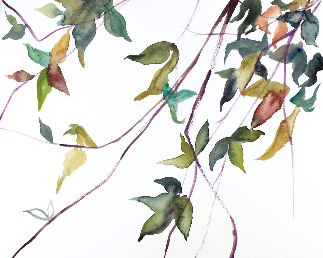 "16"" x 20"" original watercolor botanical nature painting of leaves and branches in an expressive, impressionist, minimalist, modern style by contemporary fine artist Elizabeth Becker"