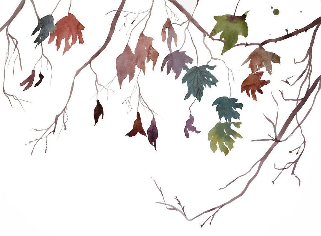 "16"" x 20"" original watercolor botanical nature painting of autumn leaves and branches in an expressive, impressionist, minimalist, modern style by contemporary fine artist Elizabeth Becker. Soft muted blue green, gold, purple, burnt sienna, red, orange and white colors."
