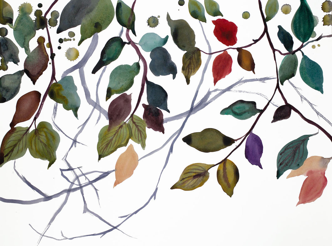 "16"" x 20"" original watercolor botanical nature painting of autumn leaves and branches in an expressive, impressionist, minimalist, modern style by contemporary fine artist Elizabeth Becker. Soft and deep moody muted blue green, gold, red, peach, purple, gray and white colors."