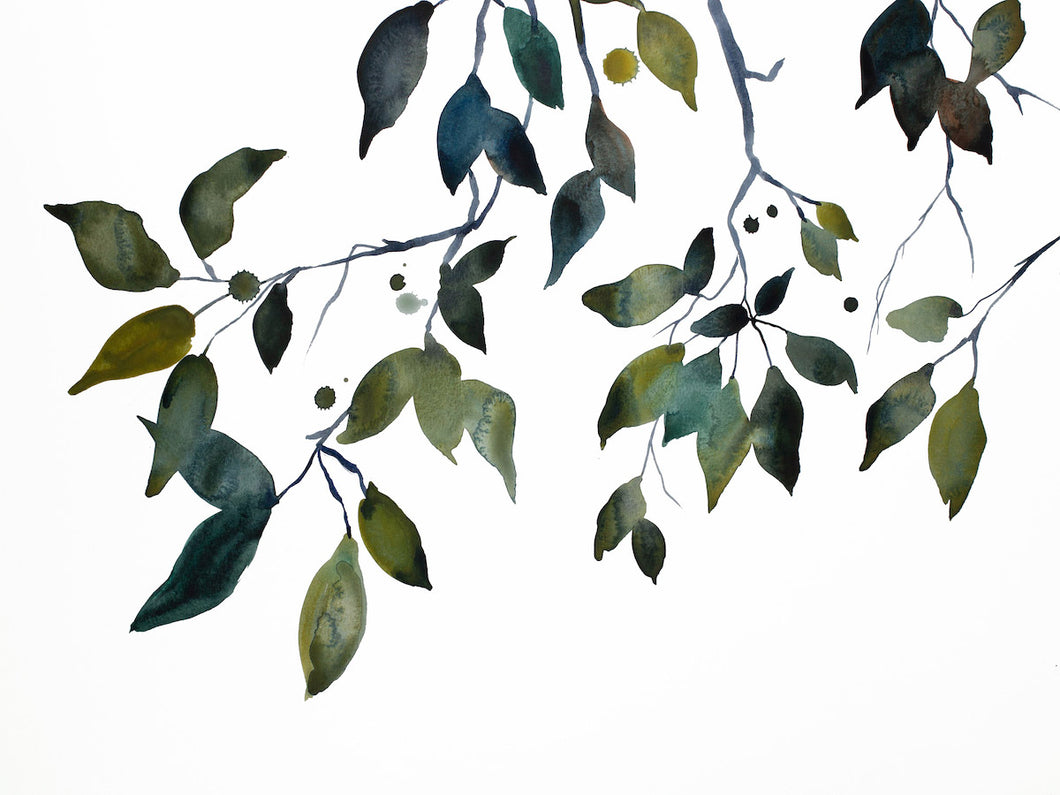 "18"" x 24"" original watercolor botanical nature painting of autumn leaves and branches in an expressive, impressionist, minimalist, modern style by contemporary fine artist Elizabeth Becker. Monochromatic blue green, gold, black, white colors."