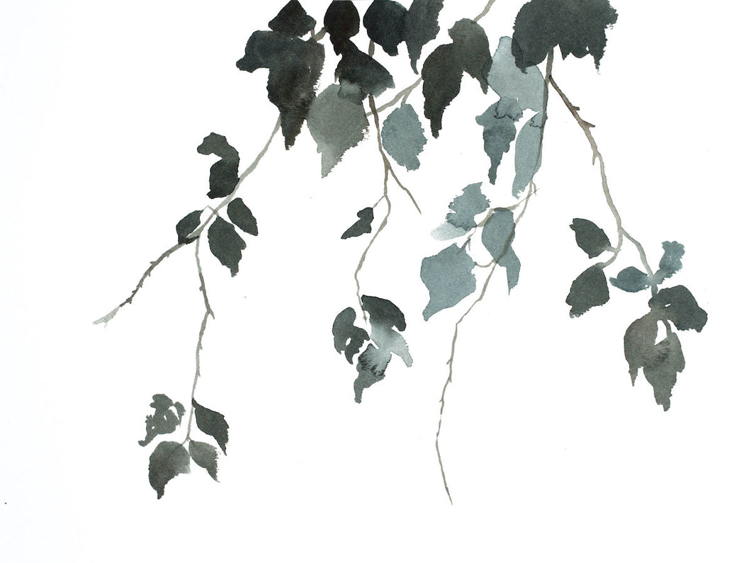 "9"" x 12"" original watercolor botanical nature painting of tree branches and leaves in an expressive, impressionist, minimalist, modern style by contemporary fine artist Elizabeth Becker. Soft monochromatic muted blue green, gray and white colors."