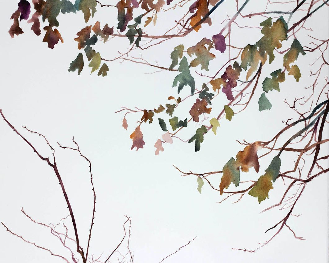 "16"" x 20"" original watercolor botanical nature painting of autumn leaves and branches in an expressive, impressionist, minimalist, modern style by contemporary fine artist Elizabeth Becker. Neutral muted soft monochromatic purple, green and gold colors."