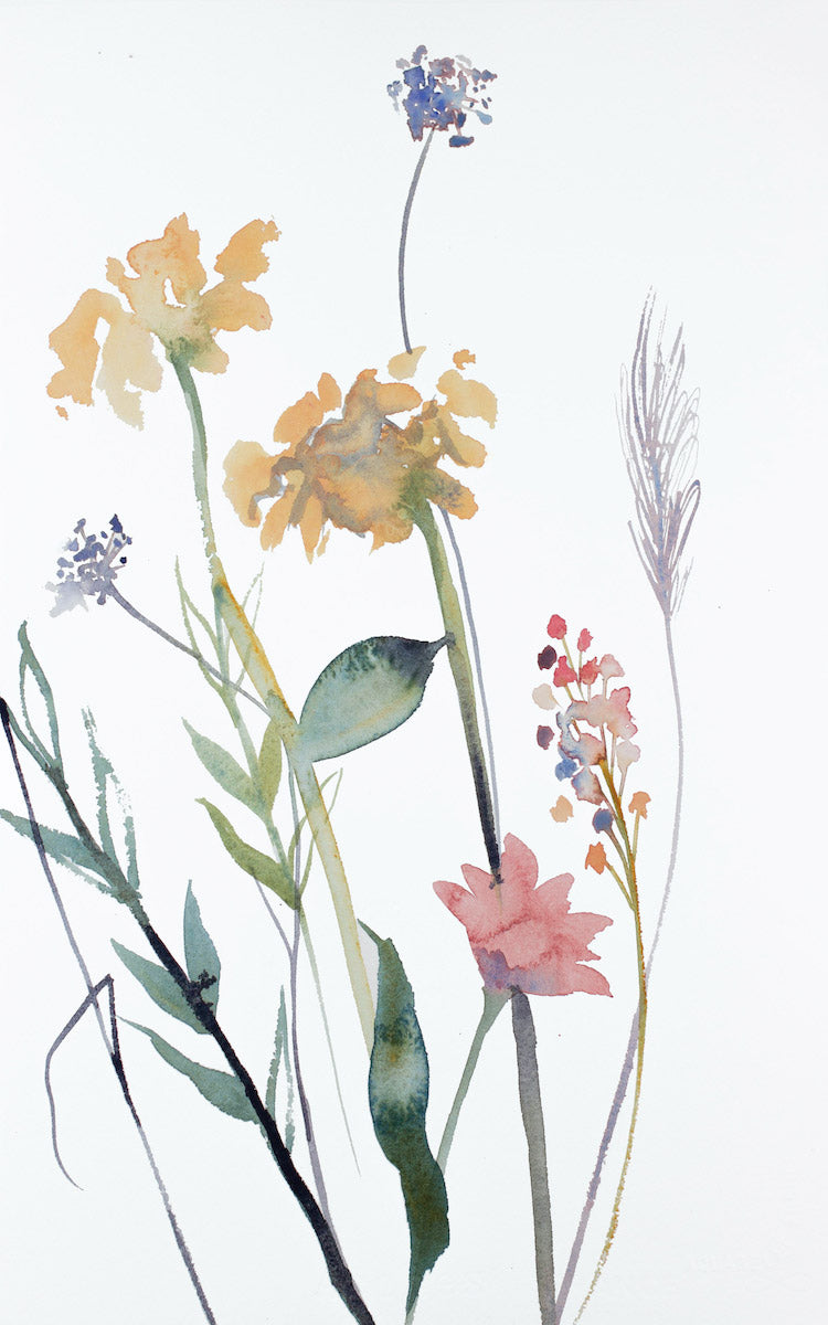 "10"" x 16"" original watercolor botanical floral painting in an expressive, impressionist, minimalist, modern style by contemporary fine artist Elizabeth Becker"