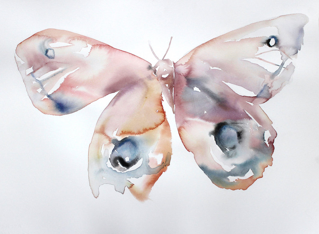 "22"" x 30"" large-scale original watercolor butterfly painting in an expressive, impressionist, minimalist, modern style by contemporary fine artist Elizabeth Becker. Delicate, ethereal, soft pink, peach, mauve purple, blue gray and white colors."