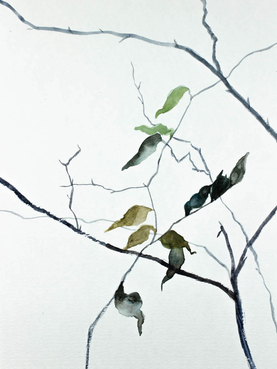 "9"" x 12"" original watercolor botanical nature painting of bare branches and leaves in an ethereal, expressive, impressionist, minimalist, modern style by contemporary fine artist Elizabeth Becker. Soft muted blue green, gold, gray, black and white colors."