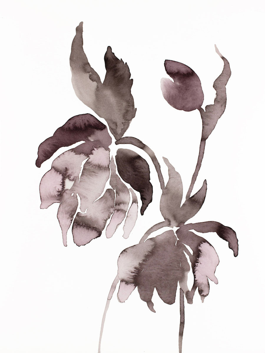 "9"" x 12"" original watercolor ink botanical hellebore floral painting in an expressive, impressionist, minimalist, modern style by contemporary fine artist Elizabeth Becker. Deep moody monochromatic mauve purple, black and white colors."